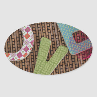Love Word at Woven Rattan Oval Sticker