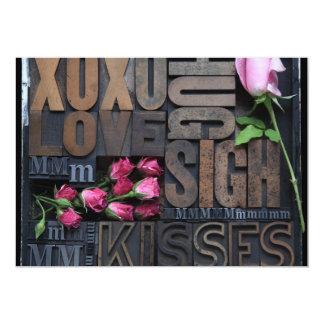 love words in letterpress type invitation