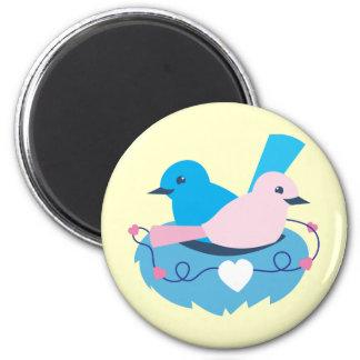 Love wrens lovebirds nest 6 cm round magnet