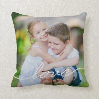 LOVE Writing Custom Photo Throw Pillow