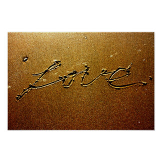 Love written in the Sand Poster