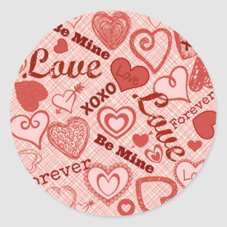 Love XOXO Be Mine Forever Hearts Valentine's Day Sticker