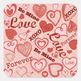 Love XOXO Be Mine Forever Hearts Valentine's Day Square Sticker