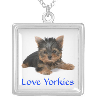 Love Yorkies Puppy Silver Pendant Necklace
