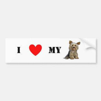 Love Yorkies Sticker Bumper Sticker
