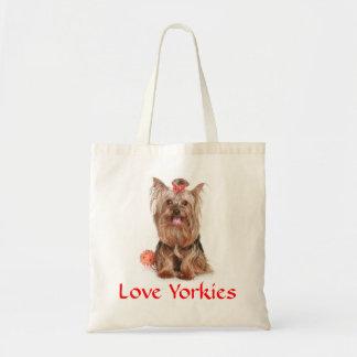 Love Yorkies Yorkshire Terrier Puppy Dog Totebag