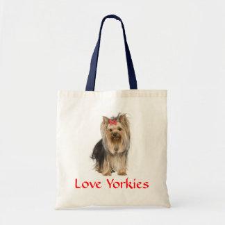 Love Yorkies Yorkshire Terrier Pupy Dog  Totebag