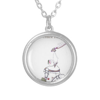 Love Yorkshire Cricket 'finest puddings' Silver Plated Necklace