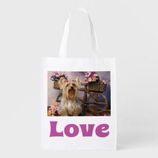 Love Yorkshire Terrier Puppy Dog Reusable Grocery Bag