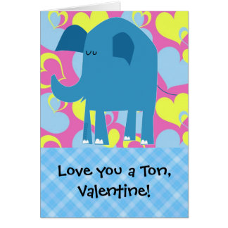 Love You a Ton Elephant Valentine Cards