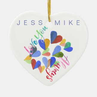 Love You Always Watercolor Hand-Painted Hearts Ceramic Heart Decoration