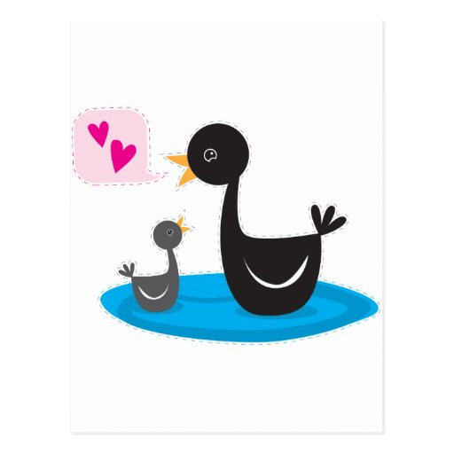 love you baby swan postcards