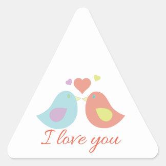 Love You Birds Triangle Sticker