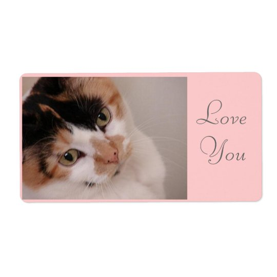 Love You/Calico Cat Shipping Label