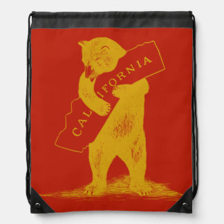 Love You California--Red and Gold Drawstring Bag