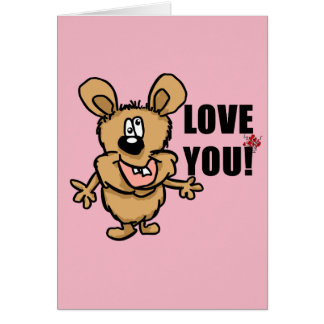 Love you cartoon character with hearts card