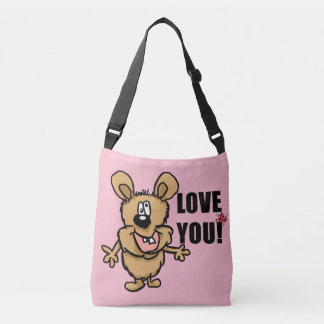 Love you cartoon character with hearts crossbody bag