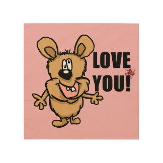 Love you cartoon character with hearts wood wall art