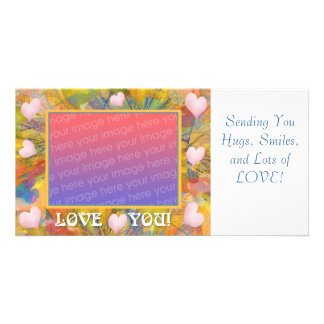 Love You Crayon Abstract Hearts Picture Card