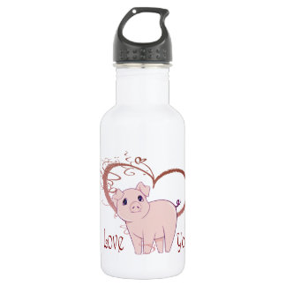 Love You, Cute Pig and Swirl Heart 532 Ml Water Bottle