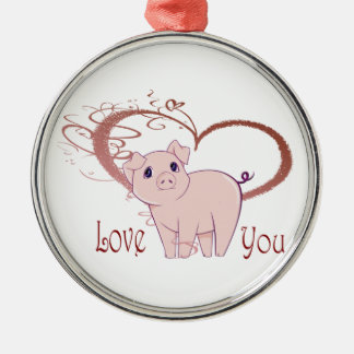 Love You, Cute Pig and Swirl Heart Christmas Ornament