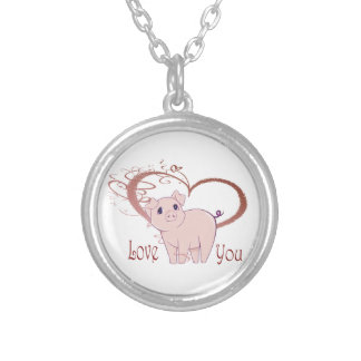 Love You, Cute Pig and Swirl Heart Silver Plated Necklace