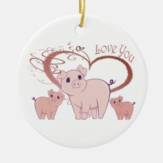 Love You, Cute Piggies Art Christmas Ornament