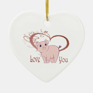 Love You, Cute Piggy Art Christmas Ornament