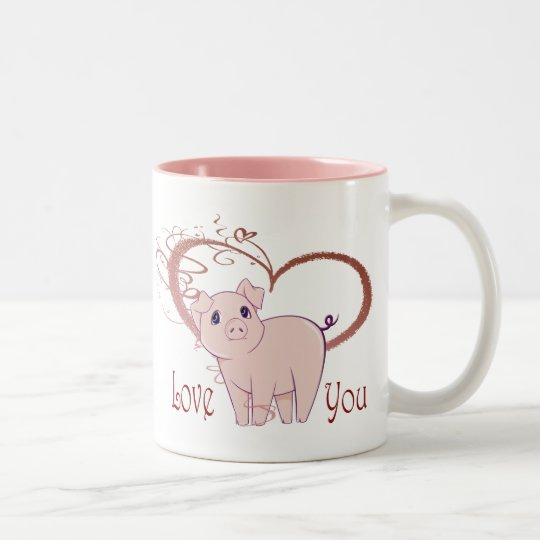 Love You, Cute Pink Pig and Swirl Heart
