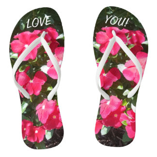 LOVE YOU Cute Red Flowers Print Flip Flops for Her