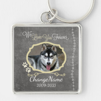 Love You Forever Dog Memorial Keepsake Silver-Colored Square Key Ring