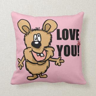 Love you fun cartoon character with pink customise throw pillow