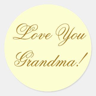 LOVE YOU GRANDMA. CLASSIC ROUND STICKER