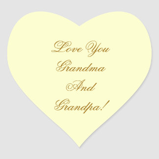 LOVE YOU GRANDMA, GRANDPA. HEART STICKER