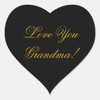 LOVE YOU GRANDMA. HEART STICKER