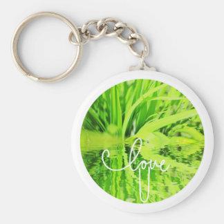 Love You Happy Green Grass Keychain