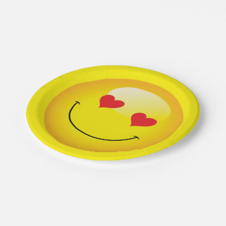 Love You Heart Eyes Cute Emoji Engagement Party 7 Inch Paper Plate