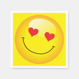 Love You Heart Eyes Cute Emoji Engagement Party Paper Napkins