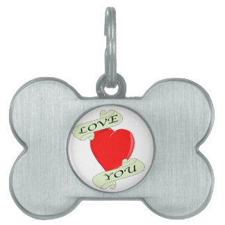 Love You Heart Pet ID Tags