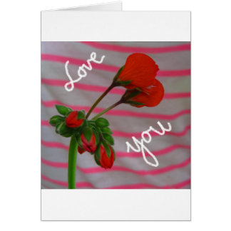 Love you in red flowers greeting card