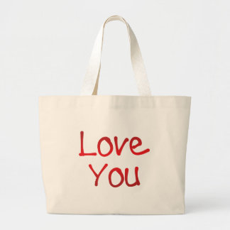 Love you lettering jumbo tote bag
