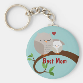 Love You Mom and Baby Owls Brown Key Ring