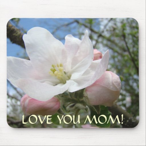 LOVE YOU MOM Apple Blossom Christmas Gift Mousepad