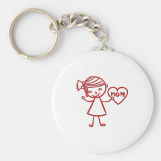 Love you mom girl with heart basic round button key ring