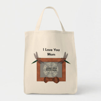 Love You Mom Personalized Photo Dragonfly Tote Bag