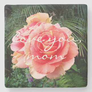 """Love You Mom"" Quote Soft Pink Rose Close-up Photo Stone Coaster"