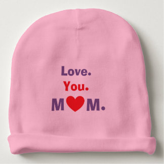 Love you mom red heart three words expression baby beanie