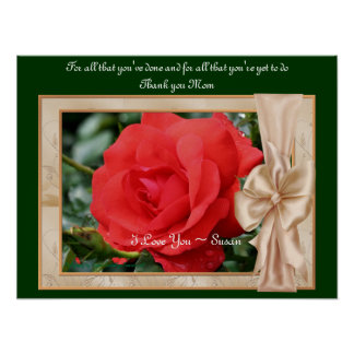Love You Mom Red Rose Personalized Poster Print