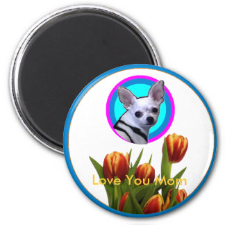 Love You Mom - Tulips The MUSEUM Zazzle 6 Cm Round Magnet