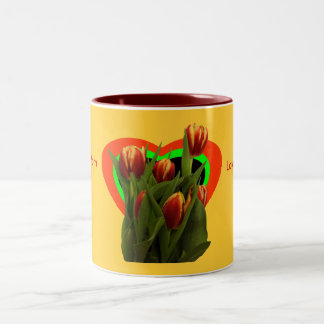 Love You Mom - Tulips The MUSEUM Zazzle Two-Tone Coffee Mug